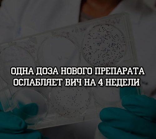 Одна доза нового препарата ослабляет вич на 4 недели